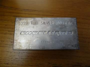 100 ounce Engelhard .999+ fine silver bar