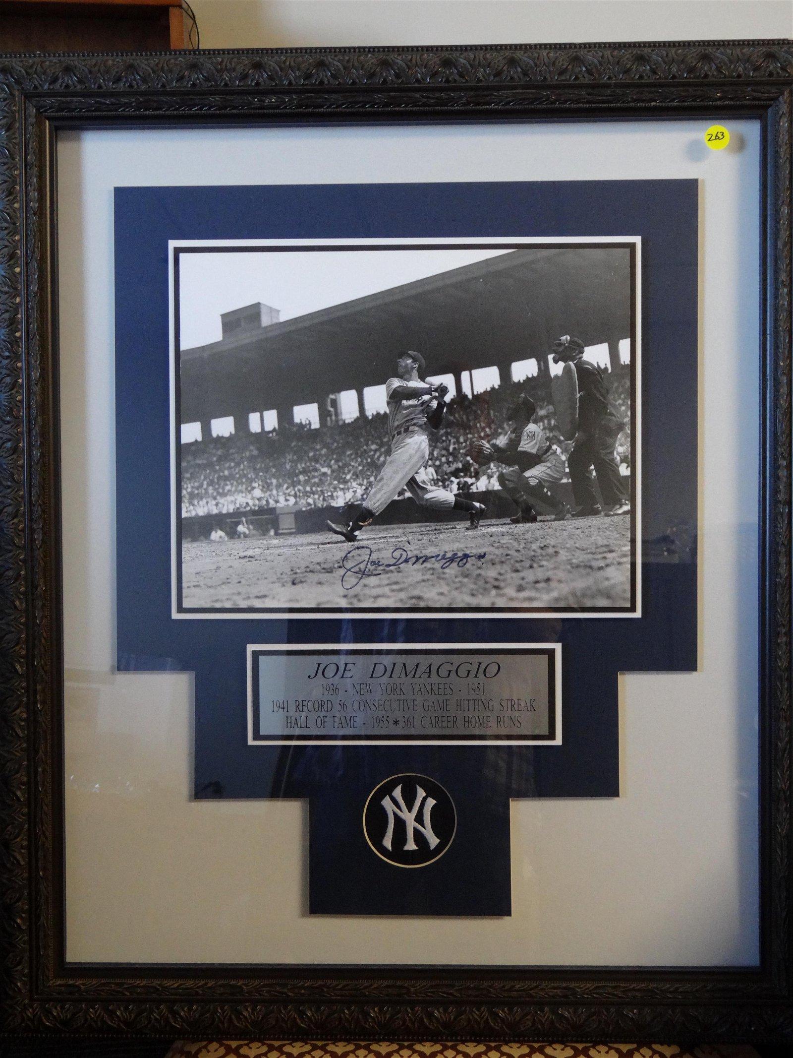 "Joe DiMaggio Signed Photo. Framed 26 1/2"" x 31""."