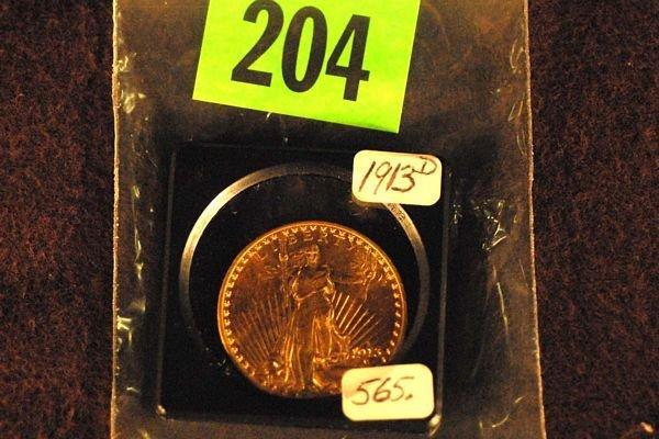 "204: U.S. Saint-Gauden's $20 ""Double Eagle"" Gold Coin 1"