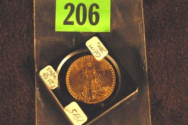 "206: U.S. Saint-Gauden's $20 ""Double Eagle"" Gold Coin 1"