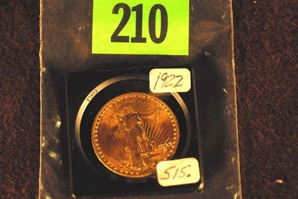 "210: U.S. Saint-Gauden's $20 ""Double Eagle"" Gold Coin 1"