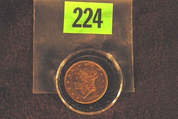 224: U.S. 1896 $20 Coronet Double Eagle Gold Coin. 1896