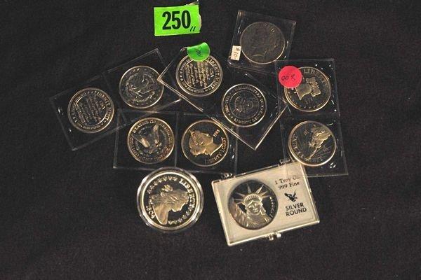 250: Silver Bullion Coins. 11 Pieces each one troy ounc