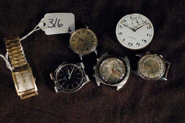 316: Lot of 6 wristwatches: 2 Omega, Gruen Curuex, Leco