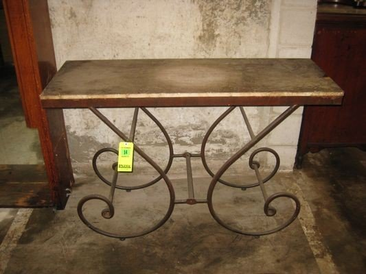 14: Wrought Iron Legged Table with Stone Top...