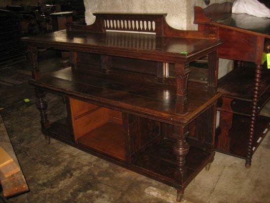 21: Antique Wooden Three Shelf Rolling Work Station...
