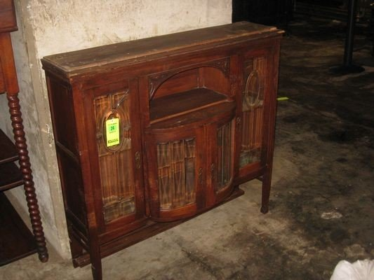 24: Antique Wooden Hutch Top with Leaded Glass Cabinet.
