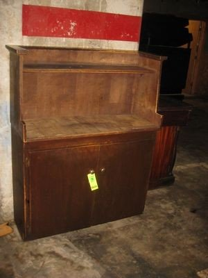25: Antique Wooden Two Door Cabinet with Hutch Above