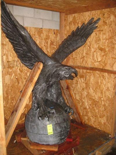 60: Antique Slate Bald Eagle Mounted on Orb...