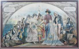 Framed 1885 Hand Colored Political Cartoon Uncle Sam