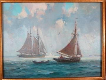 Gordon Grant Oil Painting Long Island Sound