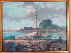 Gordon Grant Oil Painting Harbor Scene