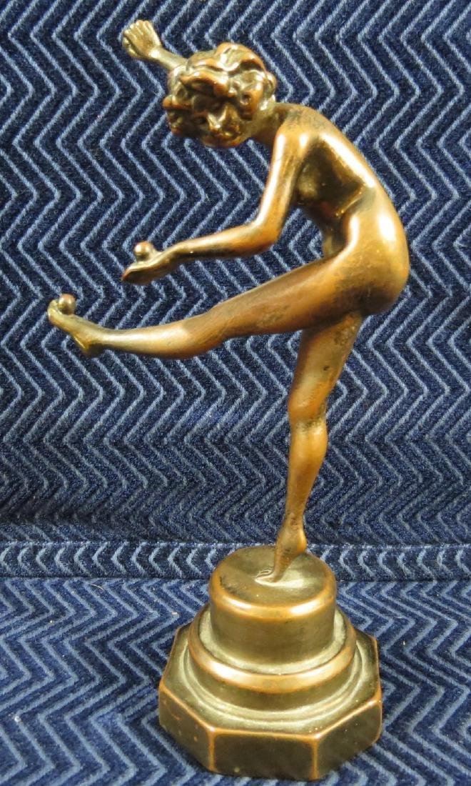 Antique Bronze Figure Nude Girl Kicking