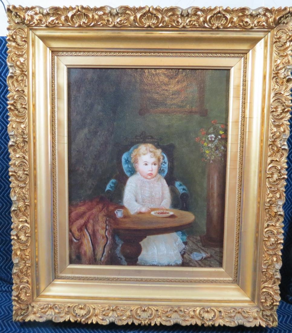 19th Century Oil on Canvas Young Child w/ Cherries