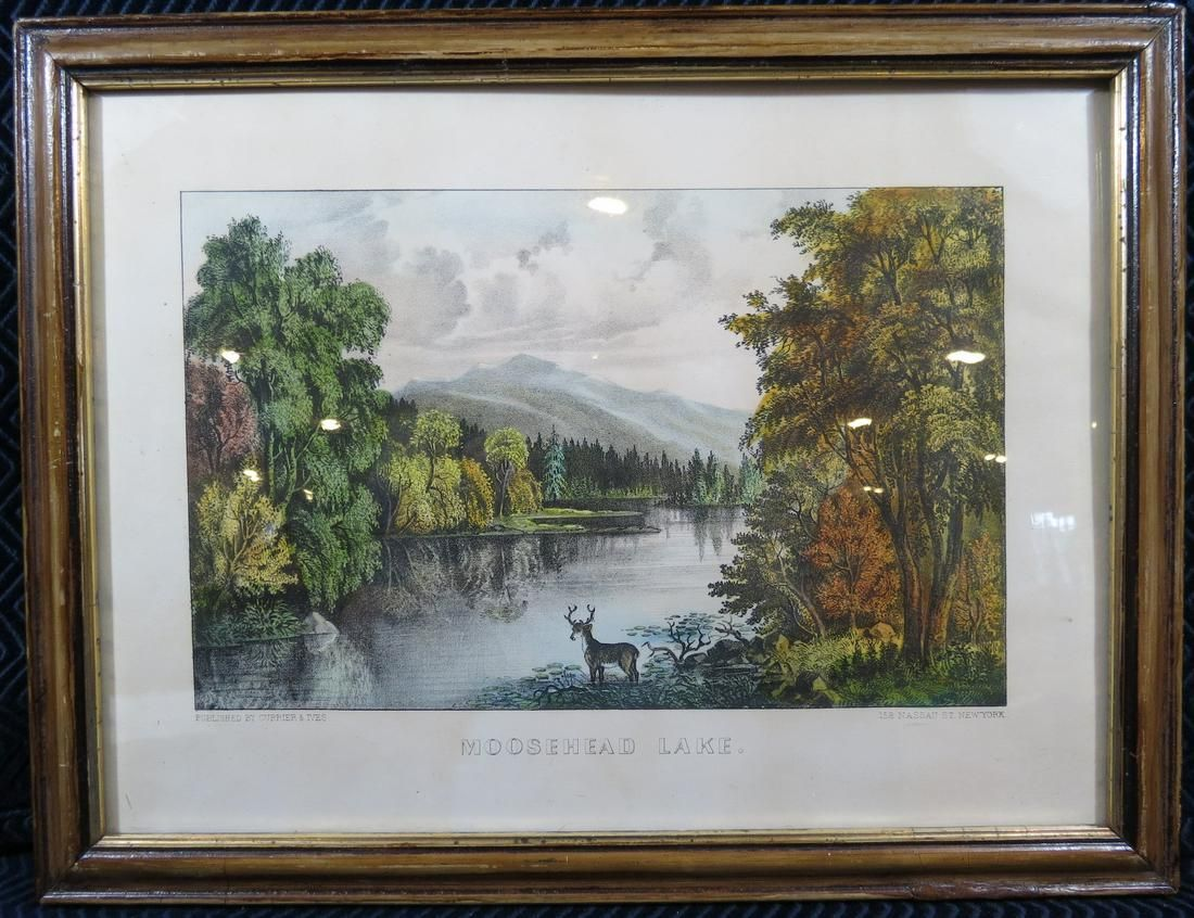 Currier and Ives Moosehead Lake Maine Lithograph