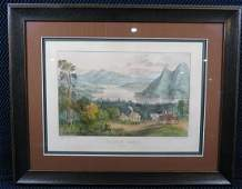 Currier and Ives Placid Lake New York Lithograph