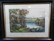 Currier and Ives Autumn on Lake George NY Lithograph