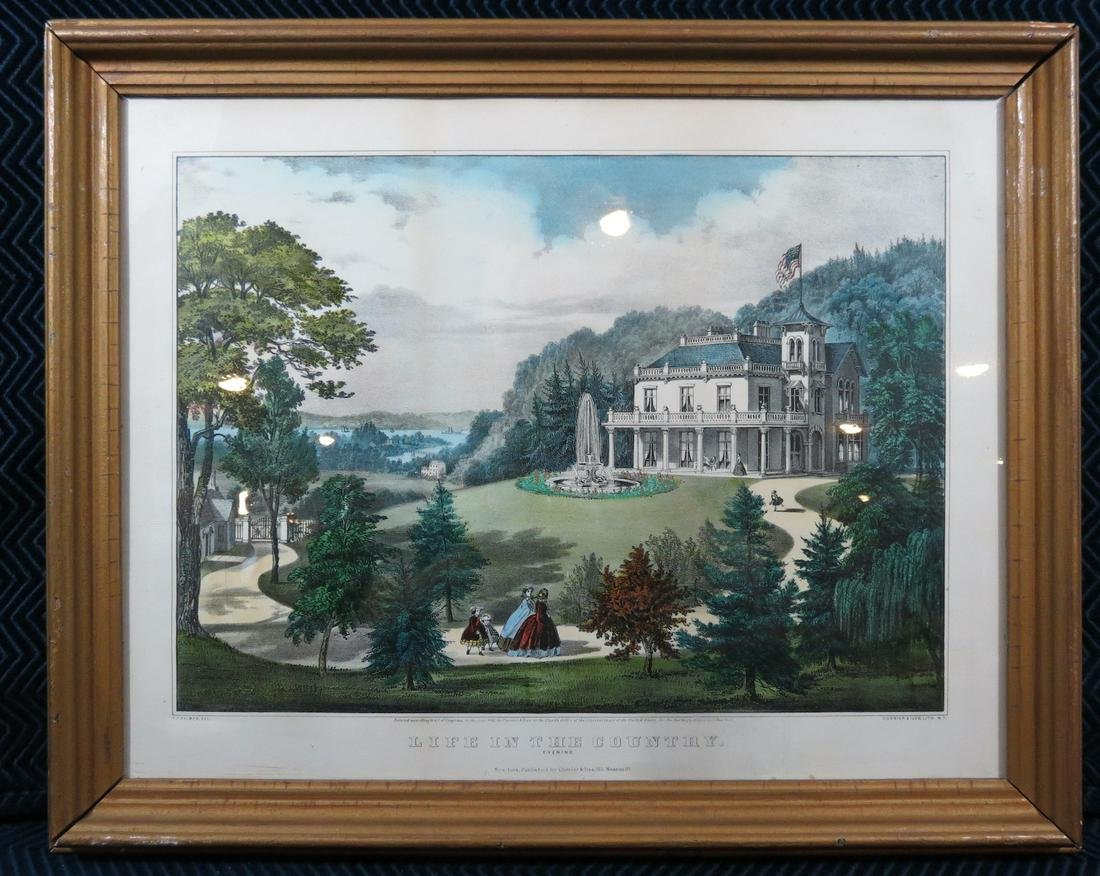 Currier and Ives Life in the Country Lithograph Framed