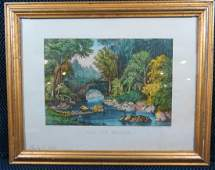 Currier and Ives The Ivy Bridge Lithograph Framed