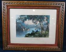 Currier and Ives The Hudson Highland NY Lithograph