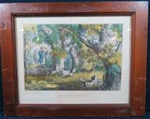 Currier and Ives Squirrel Shooting Hunting Lithograph