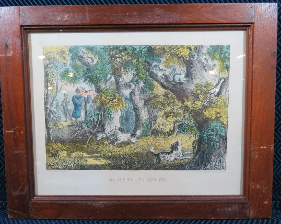 Currier and Ives Squirrel Shooting Hunting Lithograph -