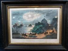 Currier and Ives California Scenery Lithograph - Framed