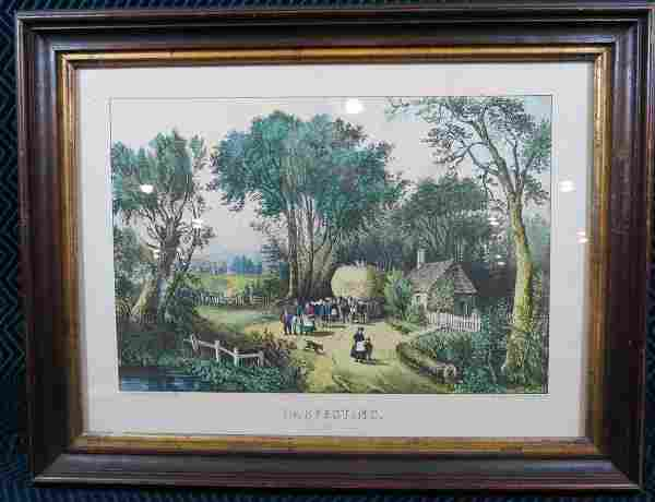 Currier and Ives Harvesting Lithograph Framed
