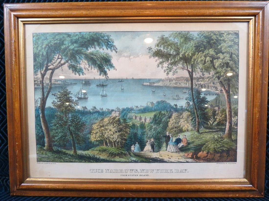 Currier and Ives The Narrows New York Bay Lithograph