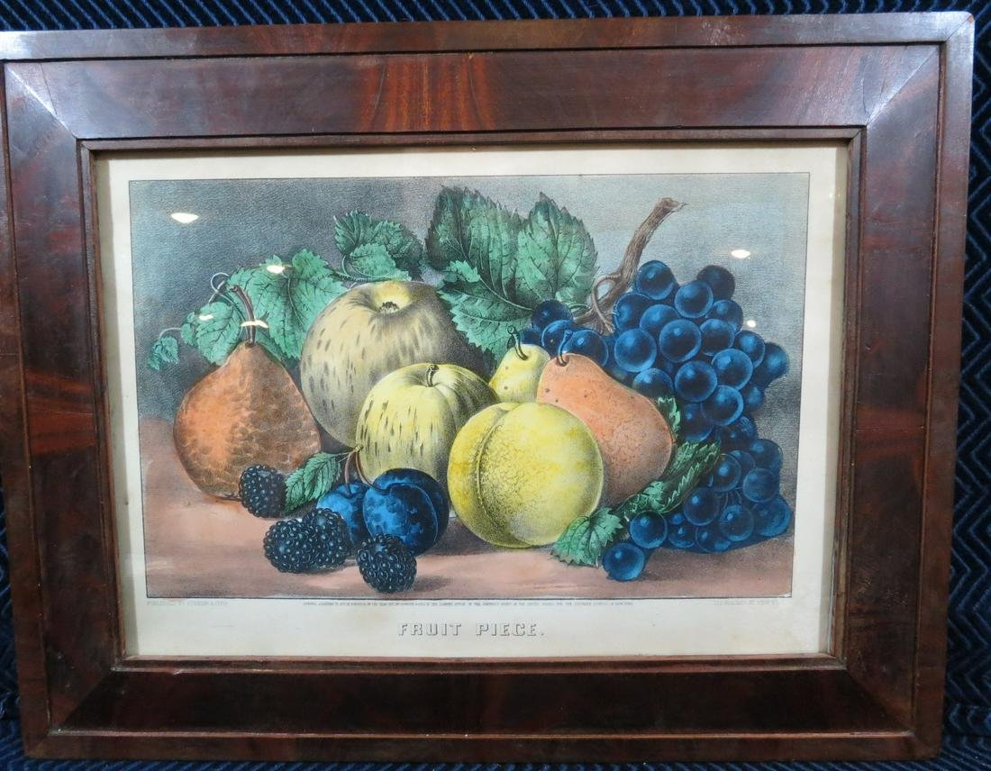 Currier and Ives Fruit Piece Lithograph Framed