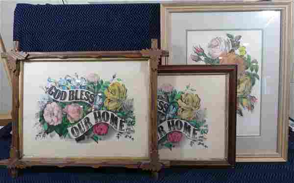 (3) Currier and Ives Lithographs Framed