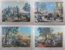 4 Currier and Ives American Country Life Lithographs