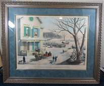 19th Century Color Lithograph Winter Scene in the