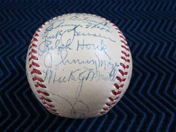 1951 New York Yankees Team Signed Baseball Mantle