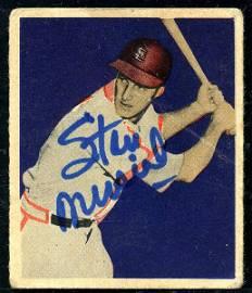 1949 Bowman Stan Musial Hand Signed Baseball Card