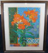 Guy Charon Signed Lithograph Flowers 185375