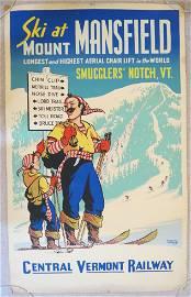 Stephen Vorhees Mount Mansfield Ski Winter Poster