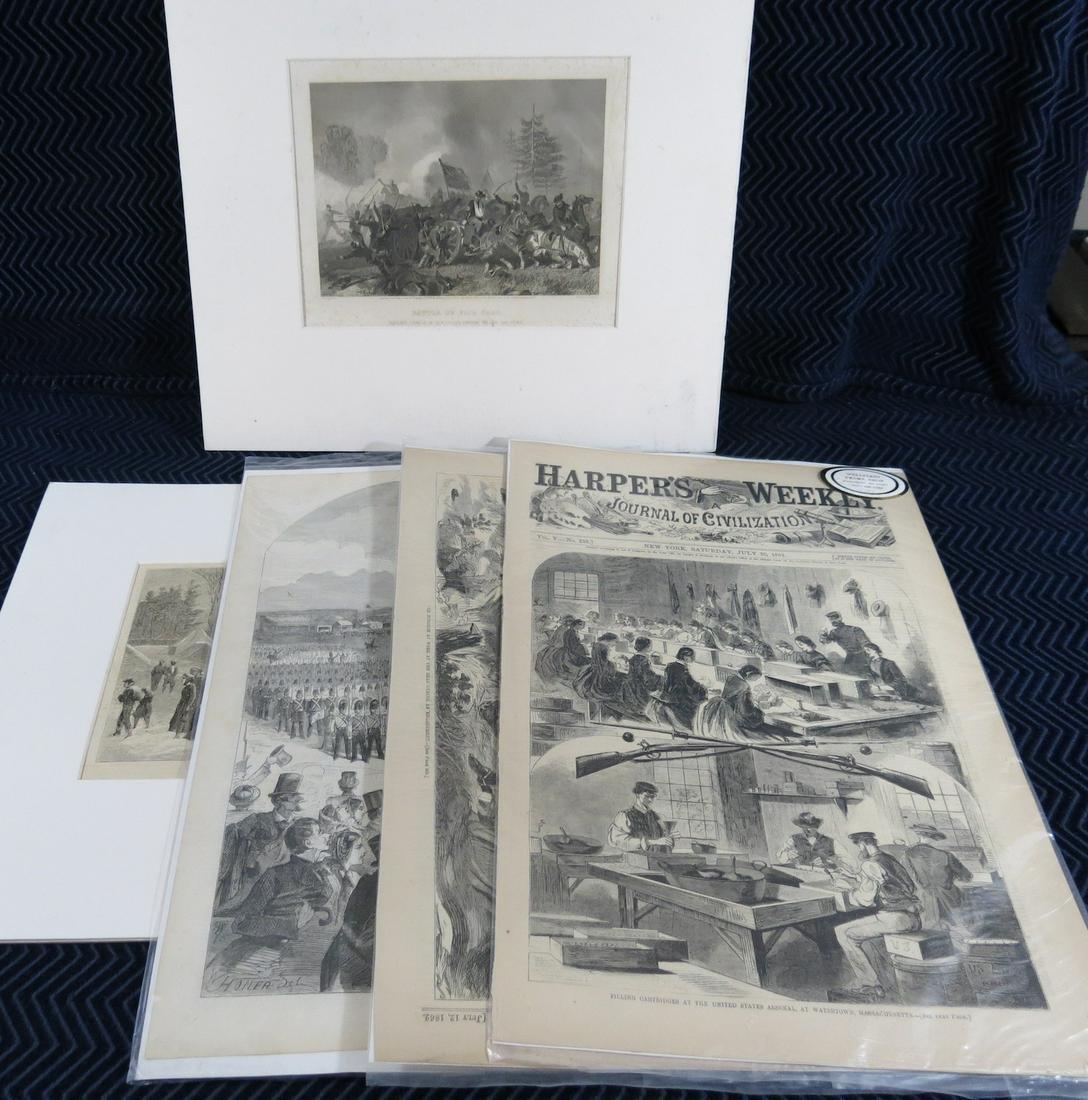(5) 1860s Civil War Woodcuts and Prints