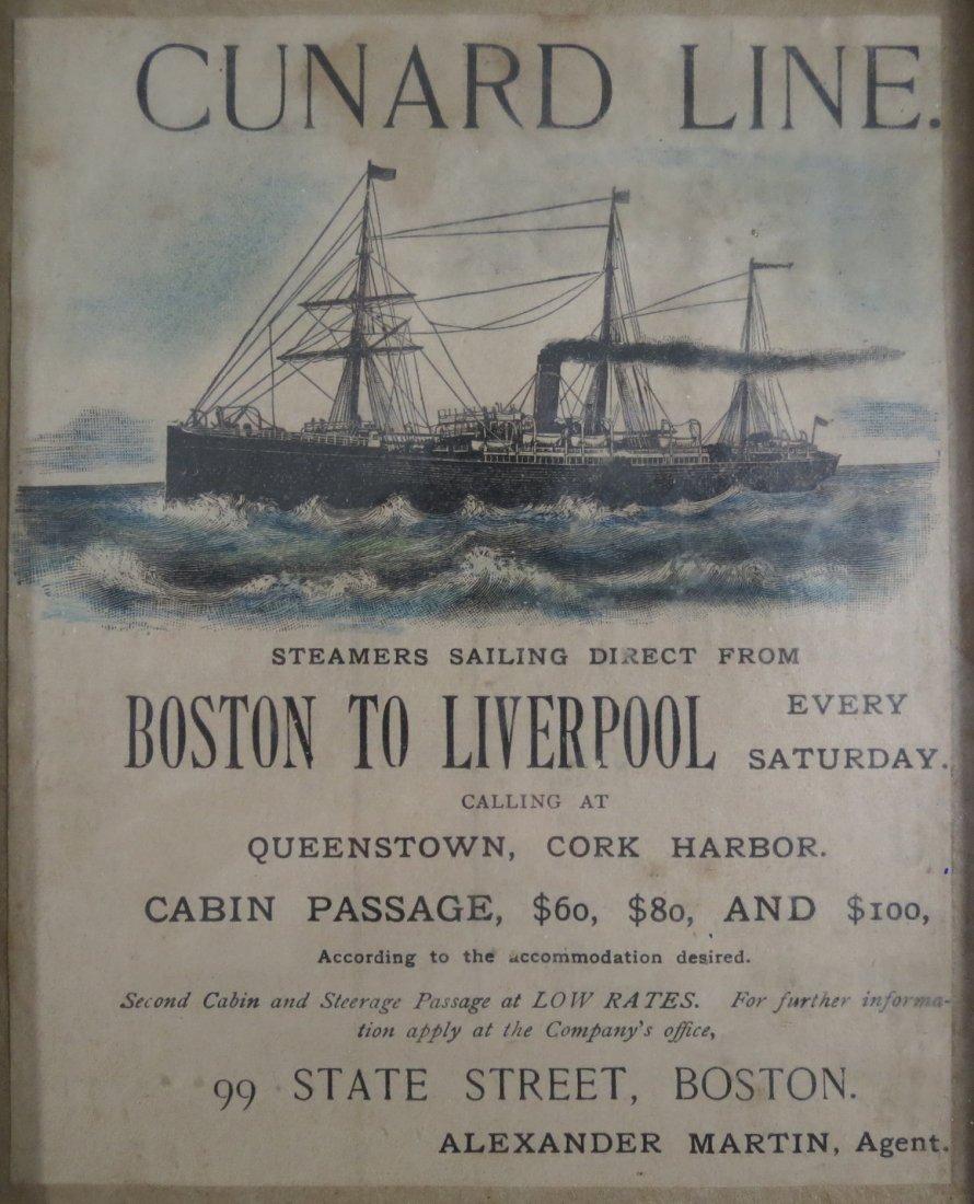 c. 1880s Cunard Line Steamship Colored Handbill