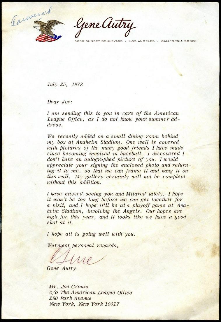 Gene Autry Signed Letter to Joe Cronin