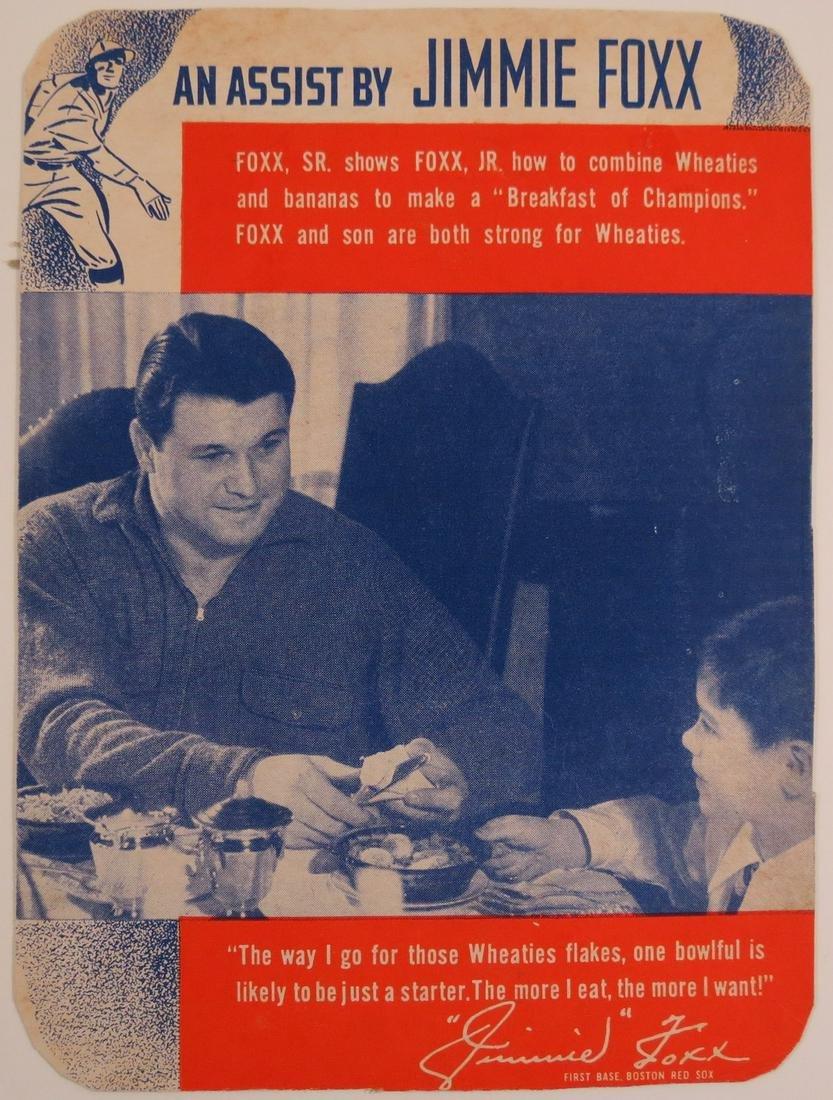 Scarce 1938 Wheaties Jimmie Foxx Baseball Card
