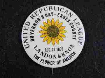 Rare 1936 Landon-Knox 1-Day Sunflower Pinback Button