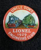1929 Lionel Train Uncle Dons Engineers Pinback Button