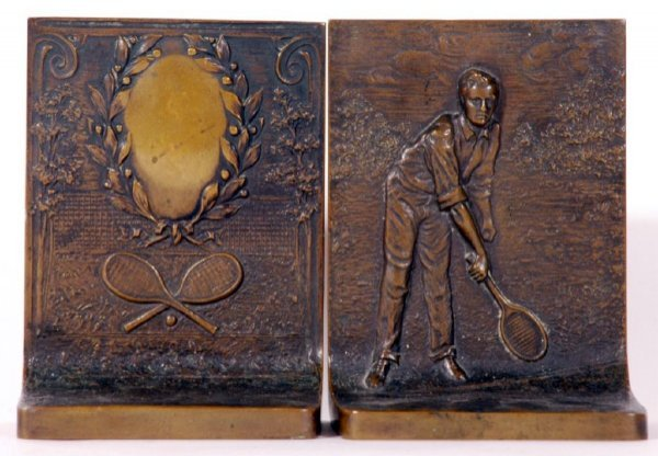 4: Pair of Early Tennis Bronze Metal Bookends