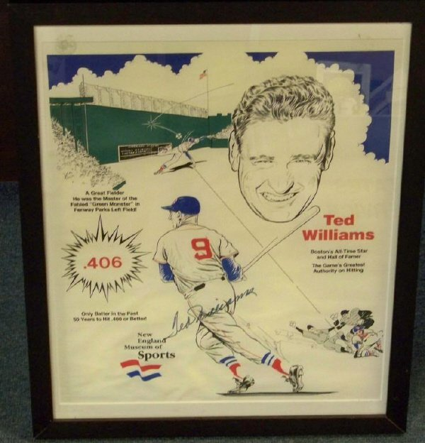 18: Ted Williams Signed New England Sports Museum Post