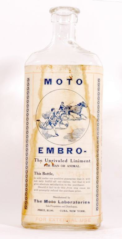 23: C. 1910's Moto Embro Liniment Bottle with Horse Ra