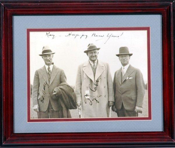 3: Ty Cobb Signed Baseball Photo PSA/DNA