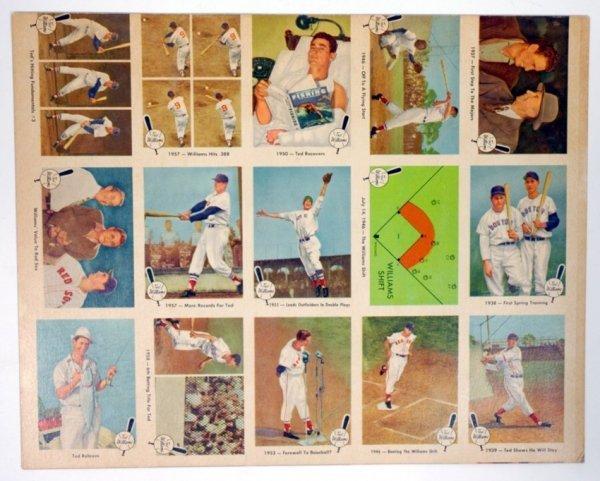 9: 1959 Fleer Ted Williams Uncut Sheet of 15 Cards