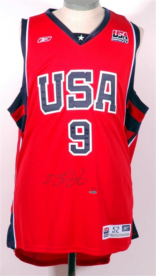 detailed look 42de5 9ab08 204: Lebron James Signed Olympic Jersey UDA