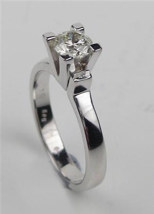 1011: White gold diamond  ring,o.50ct,P1, 14kt